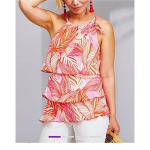 🆕Pink & Coral Palm Tiered Halter Top - Size Small